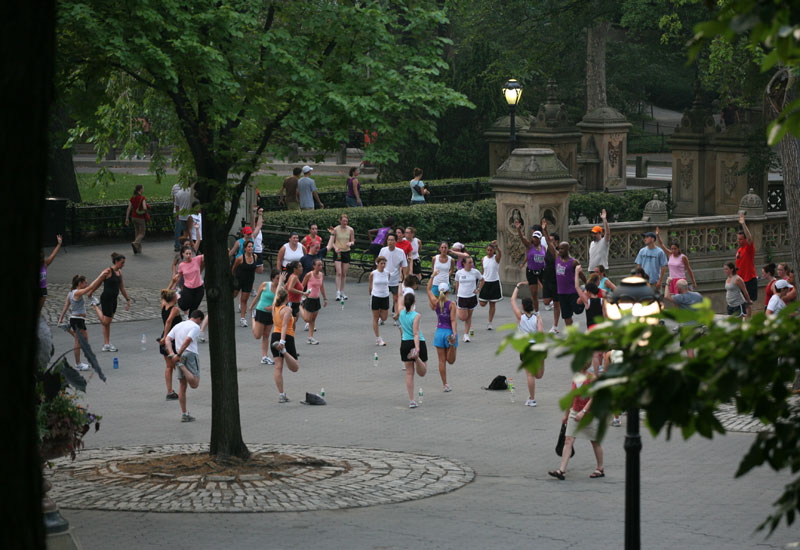 Exercising in Central Park